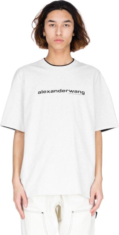a38b55a443df0f Alexander Wang: Logo Double T-Shirt - Oatmeal | influenceu