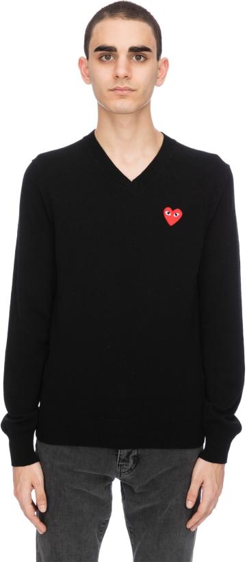 e609d2763c82 Comme des Garçons Play  Red Heart Pullover - Black
