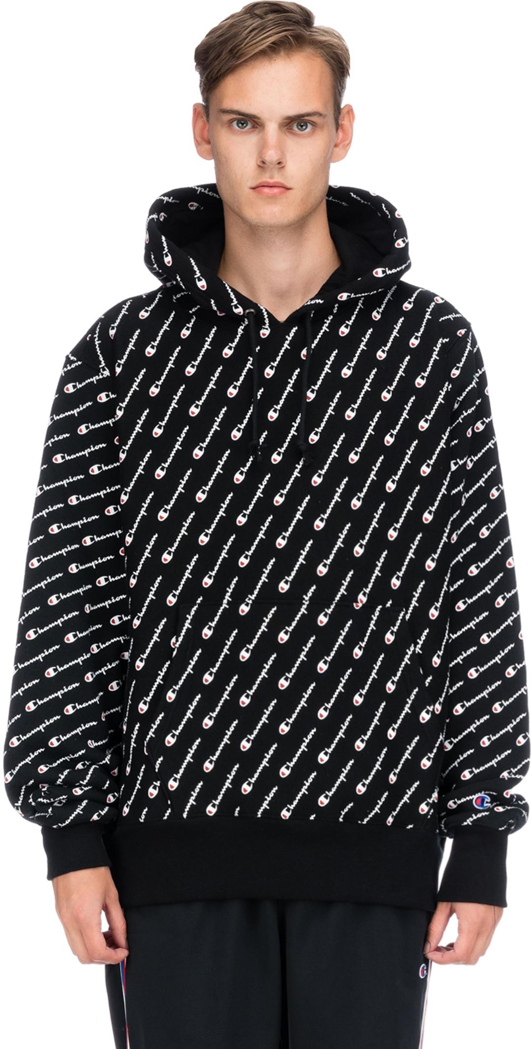 6fb512fd79da Champion  Reverse Weave Allover Logo Pullover Hoodie - Black ...