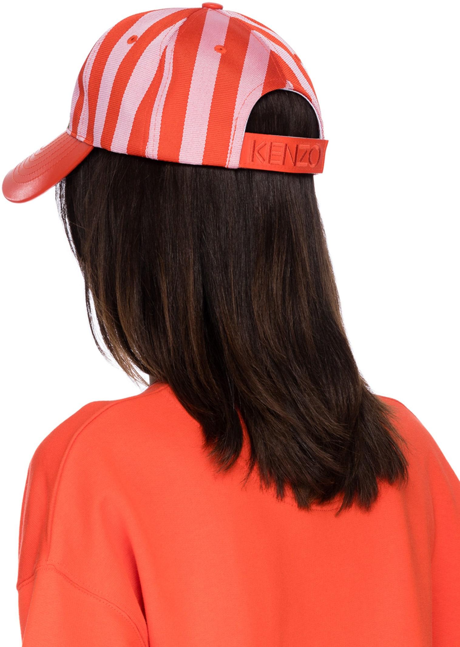 4c261c8ebb764 Kenzo: Stripe Tiger Canvas Cap - Flamingo Pink | influenceu
