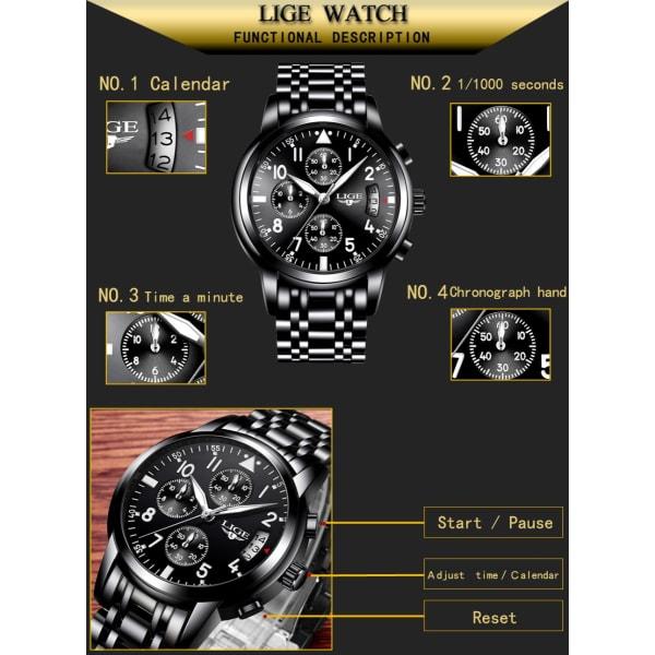 60ae6d4e6b8 Relogio Masculino LIGE Mens Watches Top Brand Luxury Fashion Business  Quartz Watch Men Sport Full Steel Waterproof Black Clock