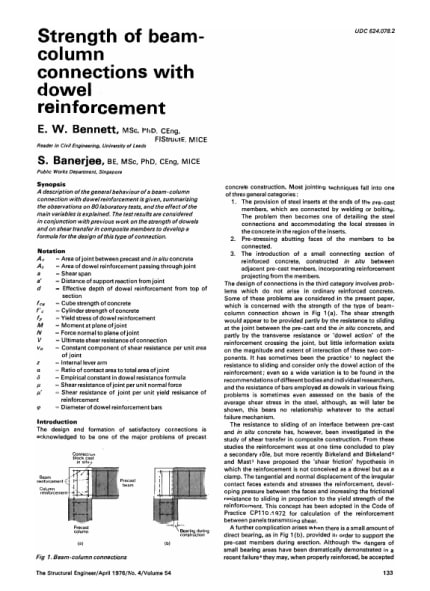 Strength of Beam-column Connections with Dowel Reinforcement - The