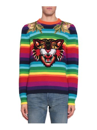 Gucci Angry Catl Striped Wool Sweater