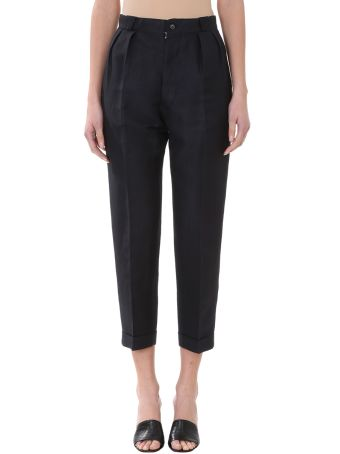 Maison Margiela Black Cotton And Linen Pants