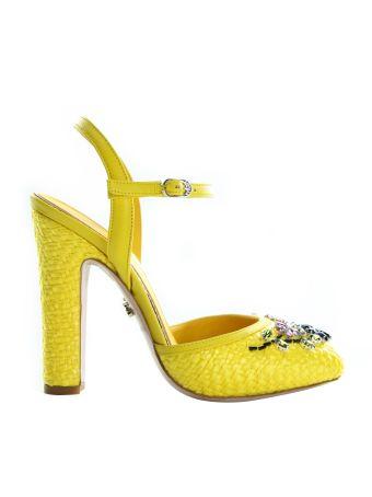 Le Silla Yellow Chanel Flower Prairie Pumps