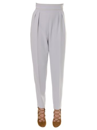 Max Mara Ice Grey Cady Pants With A Gold String