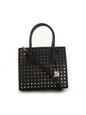 Michael Michael Kors Black Mercer Stud&grommet Medium Messenger