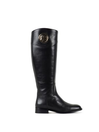 Tory Burch Tory Burch Leather Black Leather Boots With Golden Details