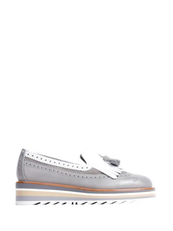 Santoni Real Leather Grey-white Fringed Woman Moccassins
