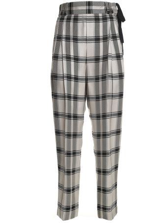 3.1 Phillip Lim Check Side-ties Viscose Trousers
