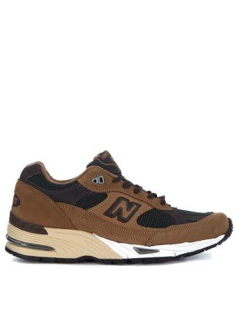 Sneaker New Balance 991 In Nubuck Marrone E Mesh