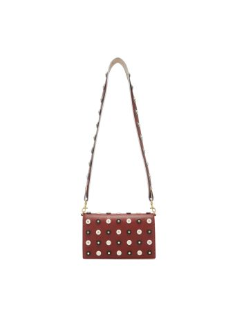 Diane Von Furstenberg Brown Cross Body Bag With Studs Decoration