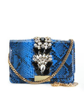 Gedebe Jungle Blue Cliky Python Textured Bag