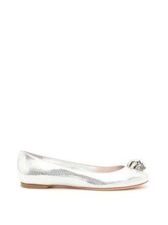Metallic Lizard Print Ballerinas