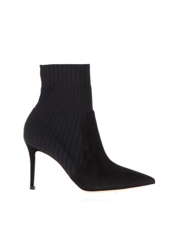 Gianvito Rossi Katie Knitted Rib & Suede Bootie