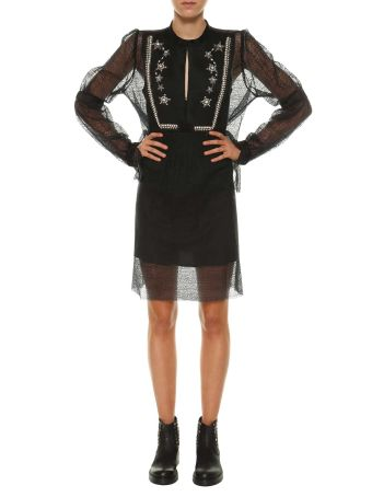 Wandering See-through Short Dress With Embellishment