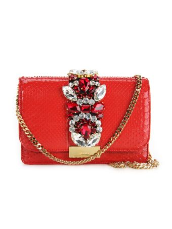 Gedebe Red Cliky Python Textured Bag