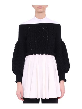 Valentino Off-the-shoulder Cropped Wool Sweater