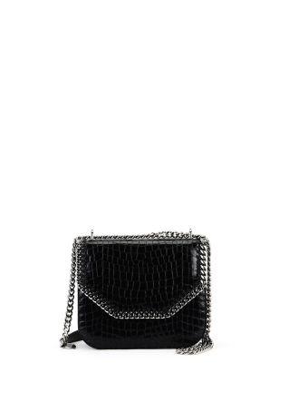 Black Croco Print Falabella Box Bag