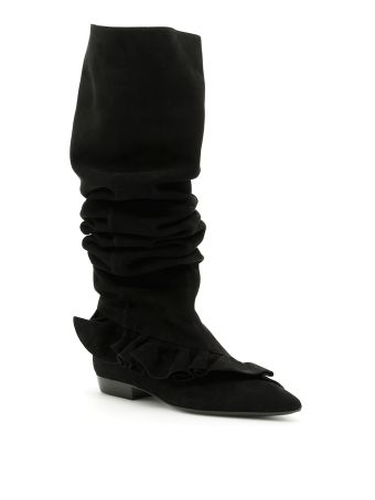 Suede Ruffle Boots