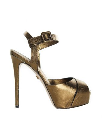 Le Silla Gold Plateau Graffia Sandals
