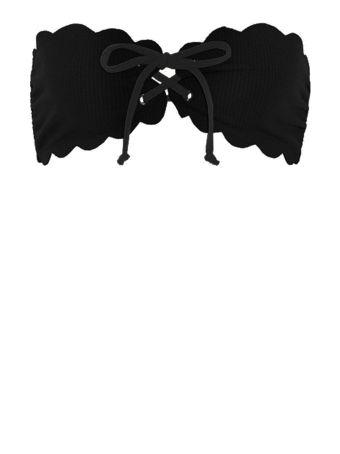 Marysia Swim Antibes Tie Scalloped-edges Bandeau Bikini Top