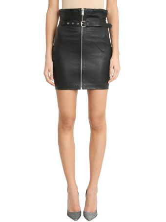 IRO Hexim Blacl Leather Skirt