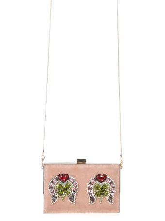 Gedebe Embellished Suede Boxy Clutch
