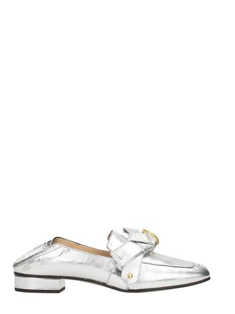 Chloé Metal Silver Leather Quincey Loafers