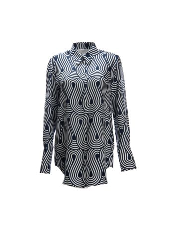 Victoria Beckham Multicolor Shirt With Wavy Motif Print