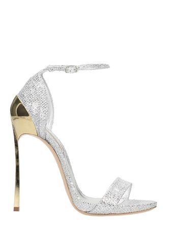 Casadei Silver Glitter Blade Sandals