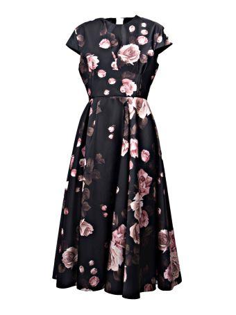 Rochas Rose Capped Sleeve Dress