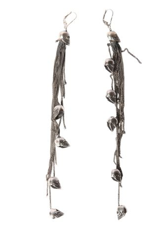 Earrings With Skulls And Chain