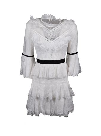 self-portrait Trim Lace Mini Dress