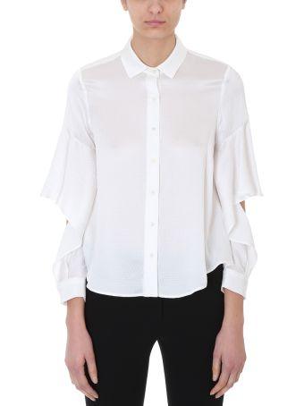 L'Autre Chose White Silk Cut Out Shirt