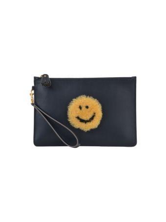 Anya Hindmarch Flat Clutch Shearling Smile