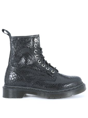 Dr Martens Ankle Boots In Suede Leather With Black Python Print