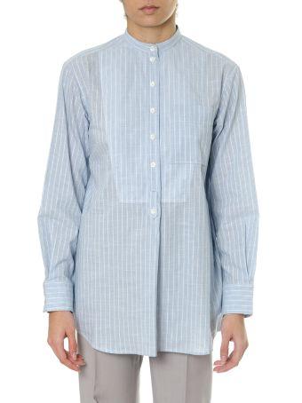 Celine Sky Cotton Plastron Shirt