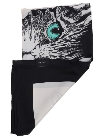 Gucci Mystic Cat Print Silk Scarf