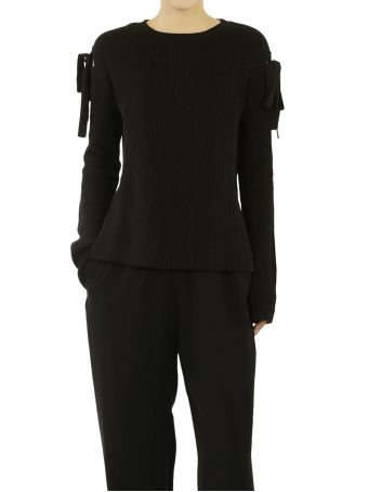 Red Valentino Tied Detail Ribbed Jumper