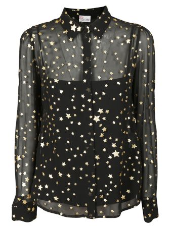 Valentino Red Red Valentino Layered Sheer Gold Foil Star Shirt