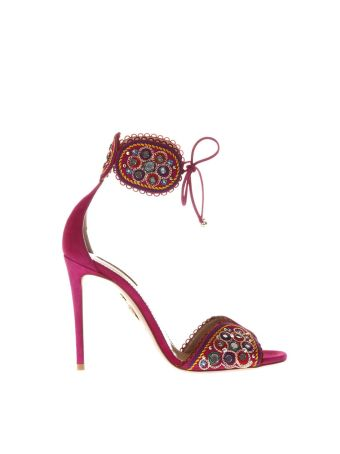 Aquazzura Suede Sandals With Decorations