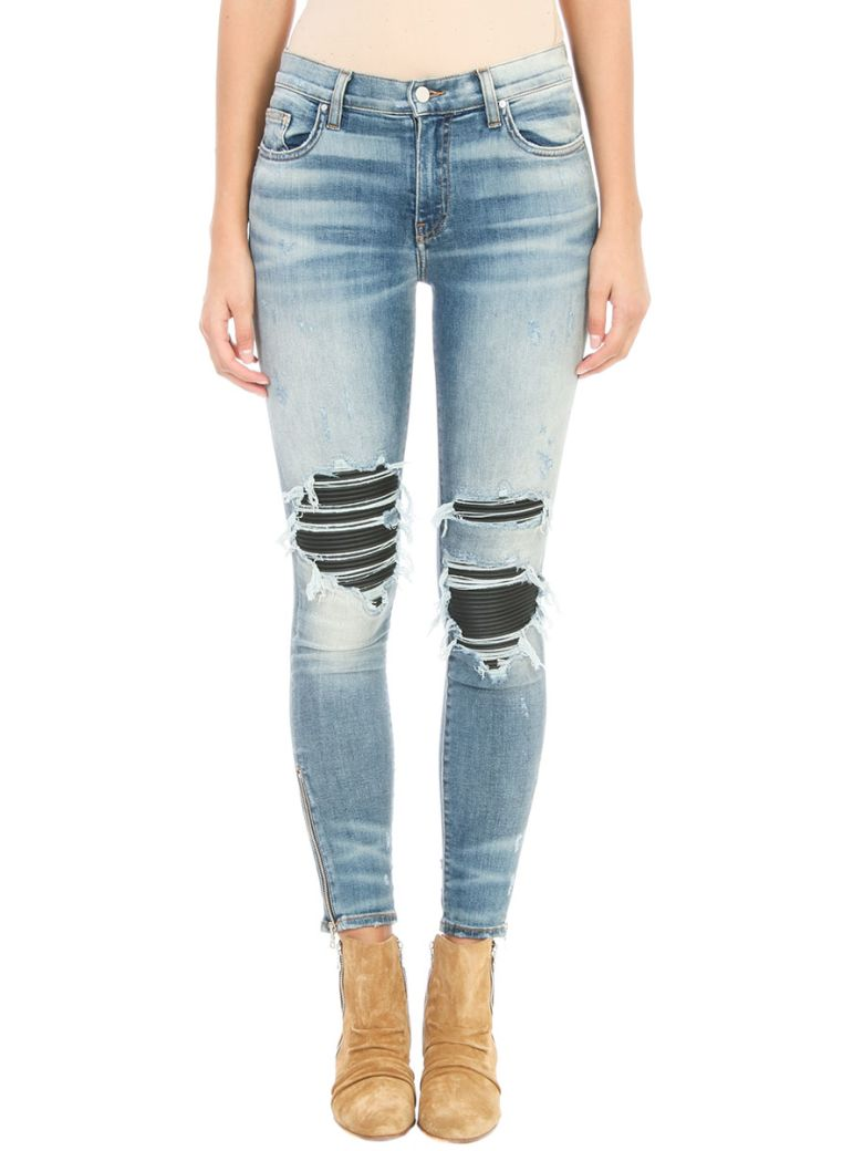 Amiri AMIRI Leather Patch Biker Blue Denim Jeans
