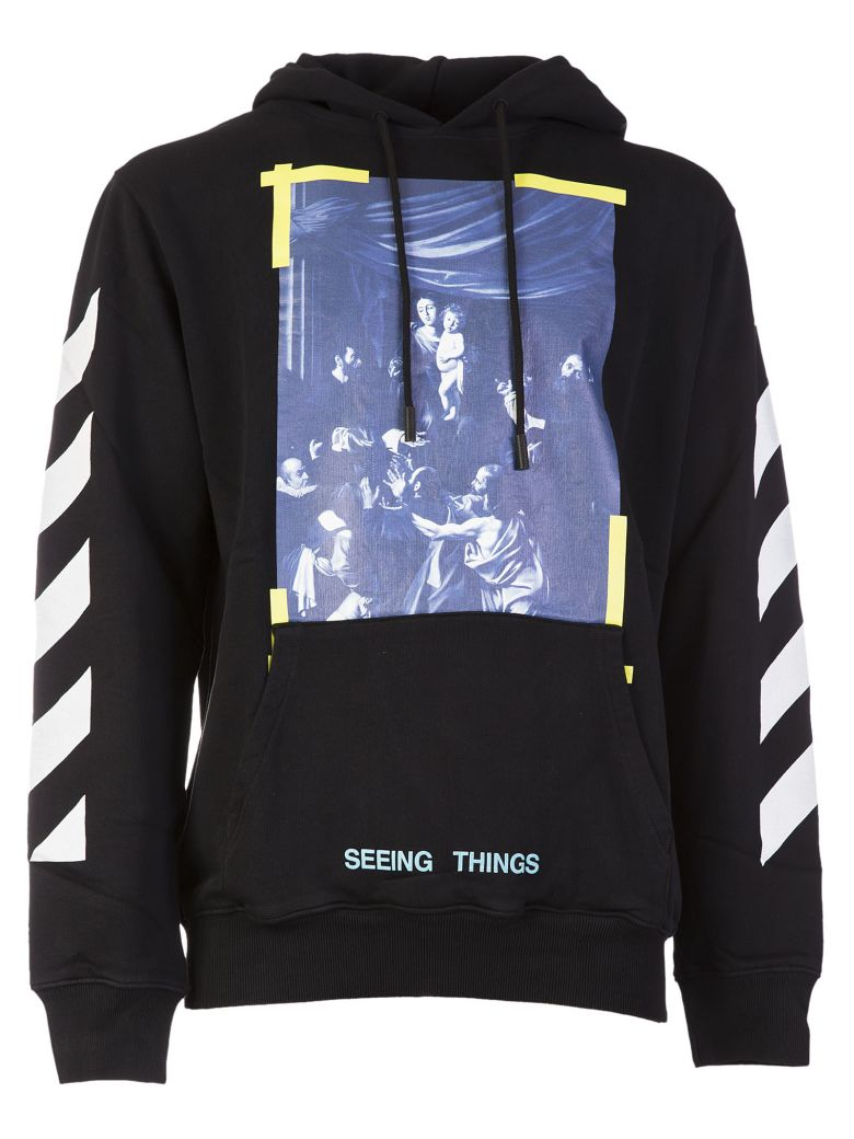 Off White Quot Seeing Things Quot Caravaggio Print Cotton Hoodie In Black Modesens