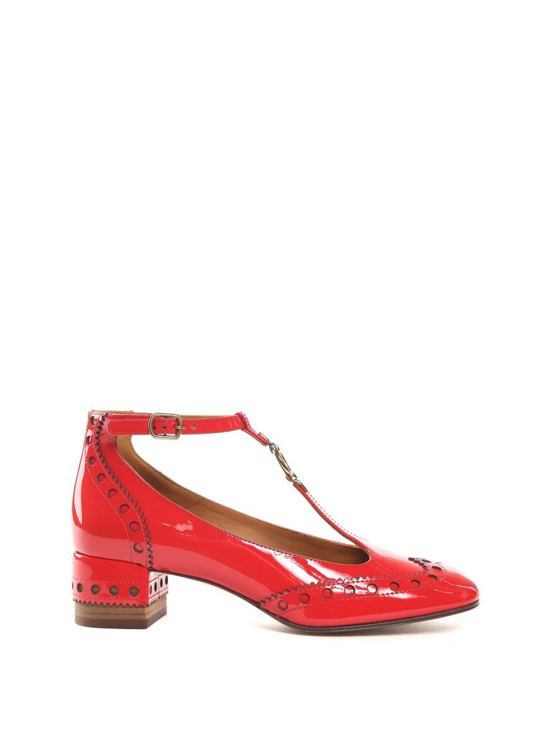 'Perry' T-bar patent leather ballerina brogue pumps
