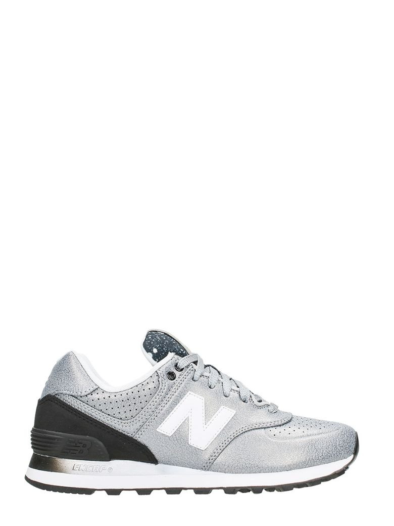 New Balance Leathers 574 SILVER BLACK LEATHER SNEAKERS