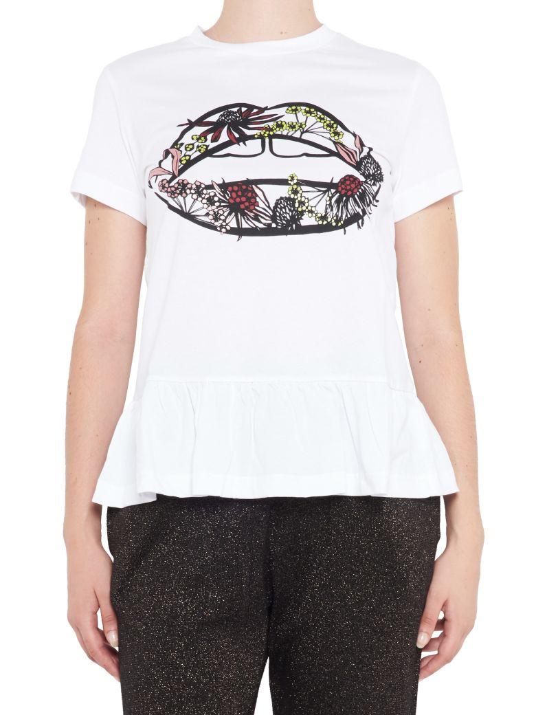 Markus Lupfer Arctic Flower Lip Cotton T Shirt White