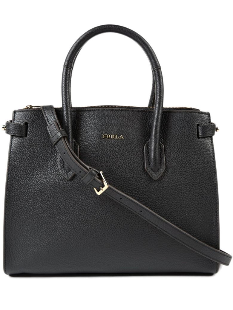 ONYX LEATHER PIN SMALL E/W TOTE BAG