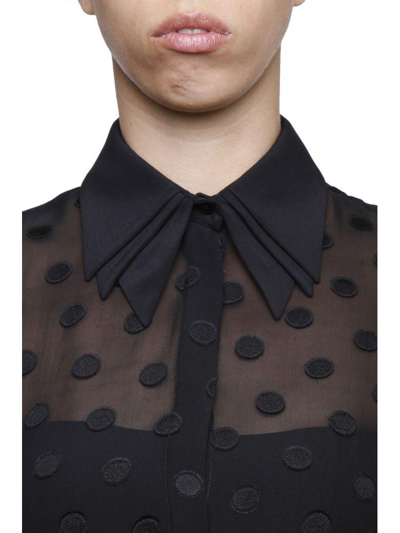 CAPUCCI Flared Polka Dot Blouse in Black|Nero