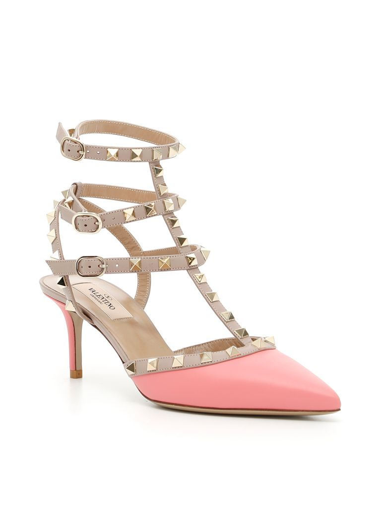 VALENTINO Ankle Strap Pumps in Paradise Rose Poudre|Rosa